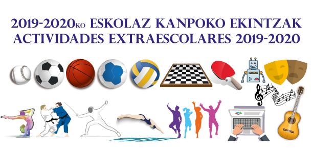Actividades extraescolares 2019-2020 Iconos de las diferentes actividades extraescolares